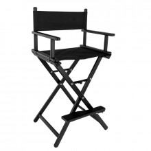 Krzesło do makijażu glamour aluminiowe czarne 8600