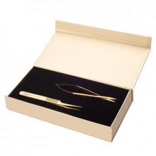 Sofi lashes zestaw nożyczki i pęseta prosta titanium gold