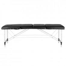 Stół składany do masażu aluminiowy komfort 3 segmentowy black