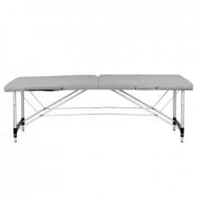 Stół składany do masażu aluminiowy komfort 2 segmentowy szary